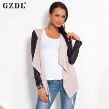 Gzdl Демисезонный Женщины Кожа Лоскутное Открыть стежка пальто повседневная с длинным рукавом Кардиганы Топ куртки femininas CL2235