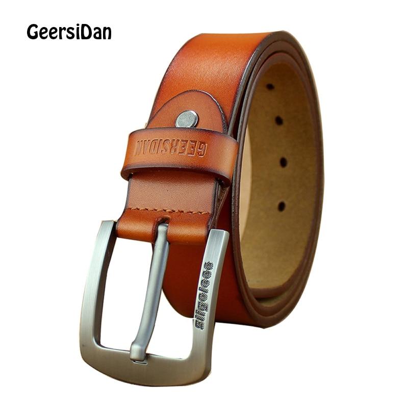GEERSIDAN 2018 New High Quality Genuine Leather   Belts   for Men Luxury Brand Strap Male   Belt   Black Fashion Vintage Pin Buckle   Belt