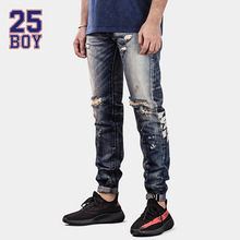 25BOY HE75DENIM Washed Selvedge Denim with Print Trendy Streetwear Hole Jeans Premium Craft Jeans