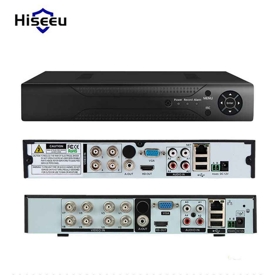 Hiseeu 4CH 8CH Analog Camera DVR Full HD OUT P2P Cloud H.264 VGA HDMI video recorder RS485 Audio heat dissipation of metal BNC