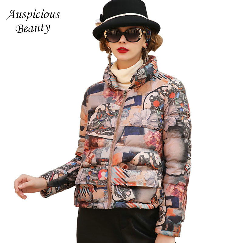 Women Winter Fashion Floral Printed High Collar Short Down Jacket Female Warm Outerwear Womens Thickened Warm Coat CX301