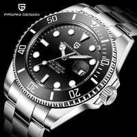 PAGANI Design marque de luxe hommes montres automatique noir montre hommes en acier inoxydable étanche affaires Sport mécanique montre-bracelet