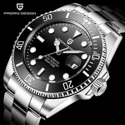 PAGANI diseño de la marca de lujo de los hombres relojes negro automático reloj de los hombres de acero inoxidable impermeable negocio deporte mecánico reloj de pulsera