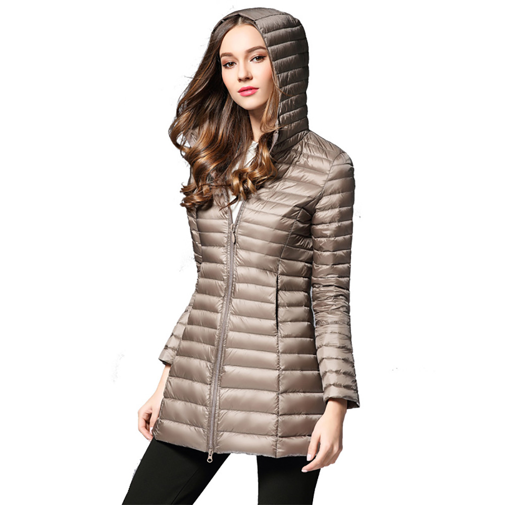 New Women/'s Ultra-light Duck Down Long Jacket Coat Lapel Slim Fit Warm Outerwear