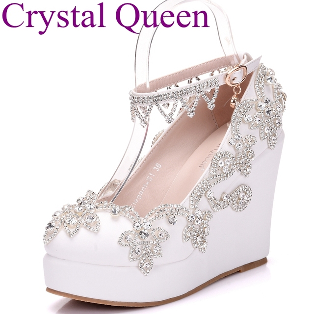 217d7327b3b153 Fashion rhinestone wedges pumps heels wedding shoes for women white platform  wedges high heels wedding shoes white wedges shoes