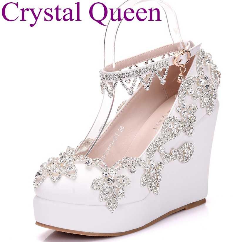 Fashion Rhinestone Wedges Pumps Heels Wedding Shoes For Women