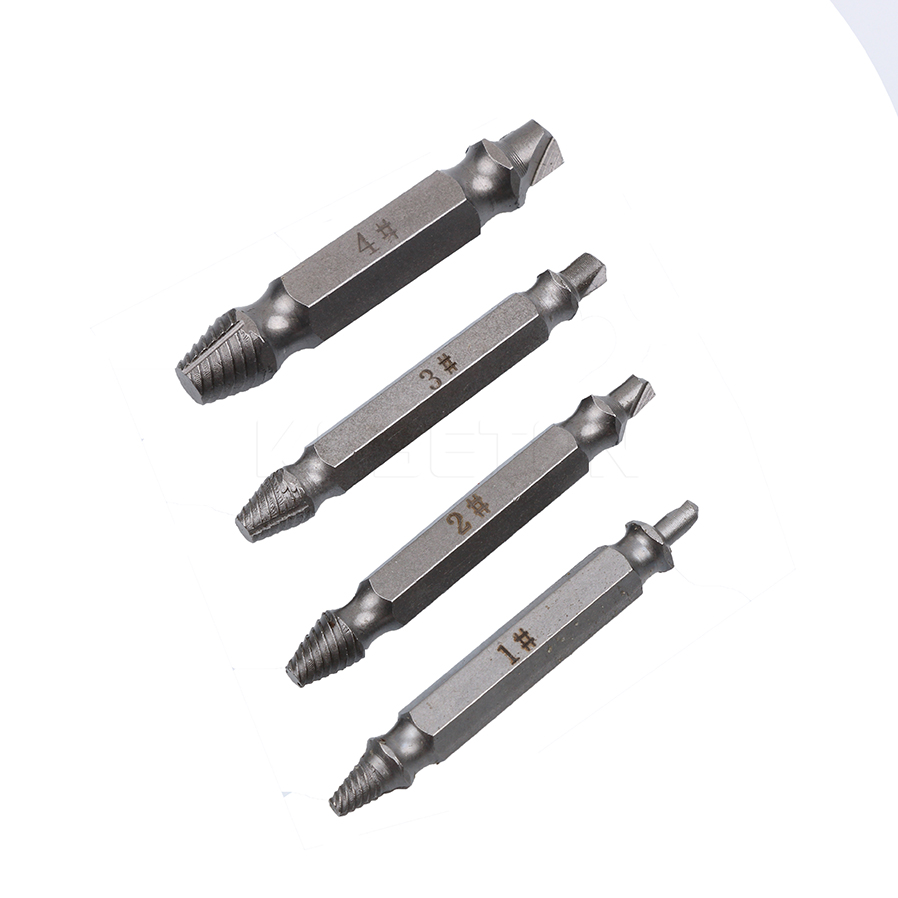4PCS/Set Double Side Damaged Screw Extractor Drill Bits Out Remover Bolt Stud Tool screw extractor