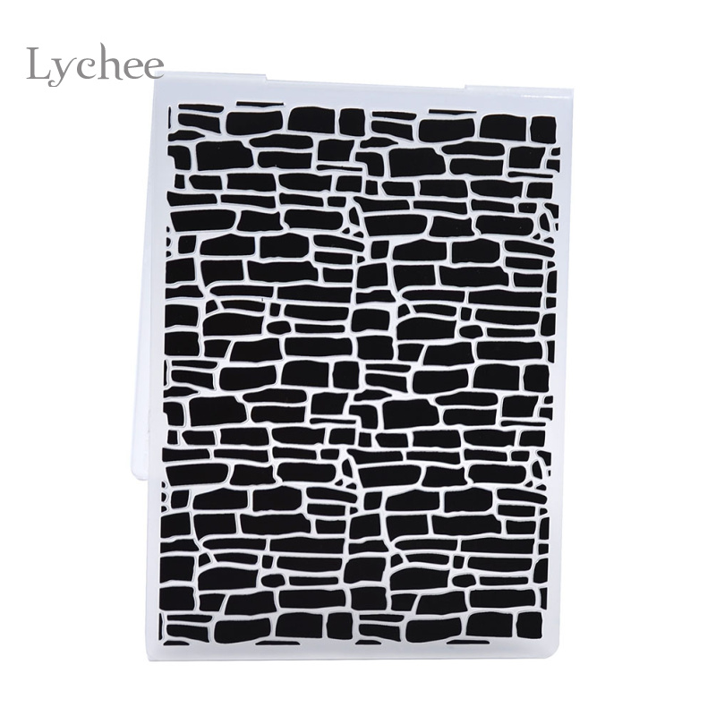 Lychee Plastic Embossing Folder För Scrapbook DIY Album Card Tool Plastmall Oregelbunden Tegel Design