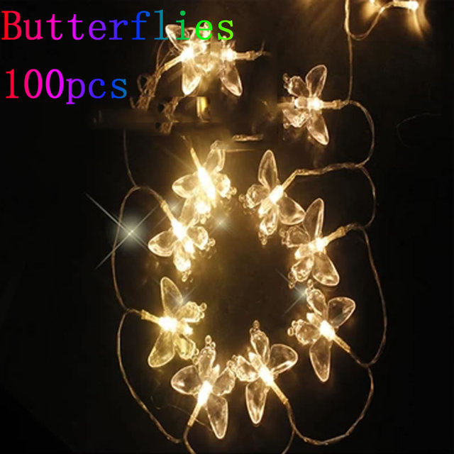 10m 100 LED Butterfly Light String Christmas Lights Wedding/Party Decoration Light Fairy Lamp ...