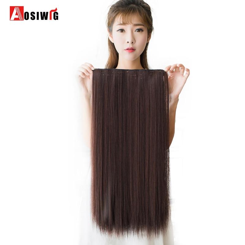 AOSIWIG Long Synthetic Hair Värmebeständigt Hairpiece Clip i Rak - Syntetiskt hår