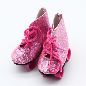 Pink Glitter/Zebra /Purple Doll Roller Skates For 18 Inch American Doll Our Generation Girl Doll 43cm Baby Doll Accessories