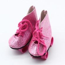 Brillo rosa cebra muñeca púrpura patines para estadounidense de 18 pulgadas  muñeca nuestra generación muñeca 43 cm bebé accesori. 6c116499f78
