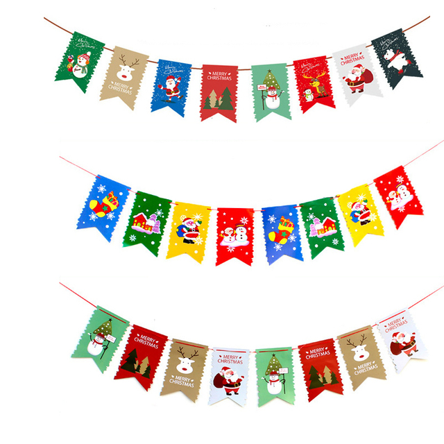 Christmas Banners.Us 2 83 Merry Christmas Banner Flag Garland Xmas Decor Christmas Santa Claus Decor Happy New Year 2019 Festive Party Supplies In Banners Streamers