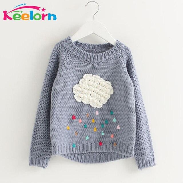 Keelorn Girls Clothing 2017 Winter Pullover Children Sweaters Cartoon Cloud Long Sleeve Outerwear O-neck Kids Knitwear 3-7Y