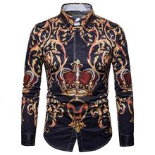 Hawaiian Shirt Mens clothing Court style Crown print Retro Long-sleeved Blouse Men