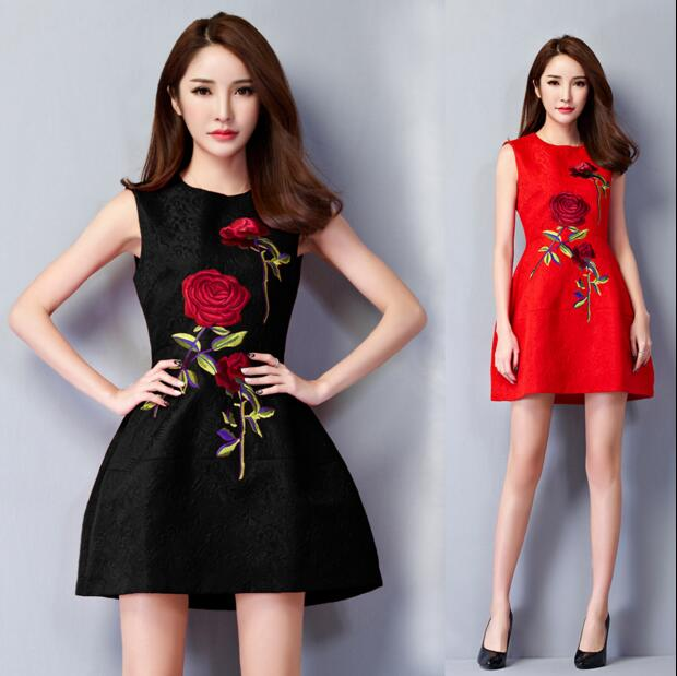 2018 Spring Summer Women Embroidery Flower Party Dress ...