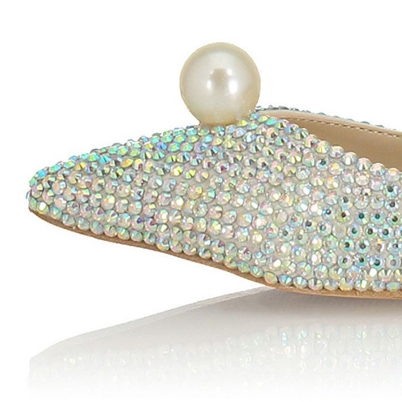 Mode Vrouwen Ondiepe Slip Op Loafers Bruid Glitter Pailletten Parel Wees Teen Trouwjurk Schoenen Bruidsmeisje Dames Flats Schoenen - 5