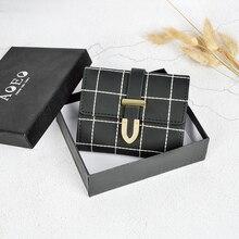AOEO Mini Wallet Female Plaid Design Mild Waterproof PU Ladies 3 Fold With Zipper Coin Purse Cash Money Bag Small Wallets Women