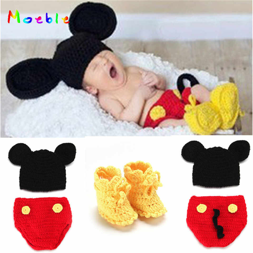 0252d4ed6f9 Mickey Design Crochet Baby Hats Pants Shoes Set for Photo Props Knitted Newborn  Baby Clothing Set