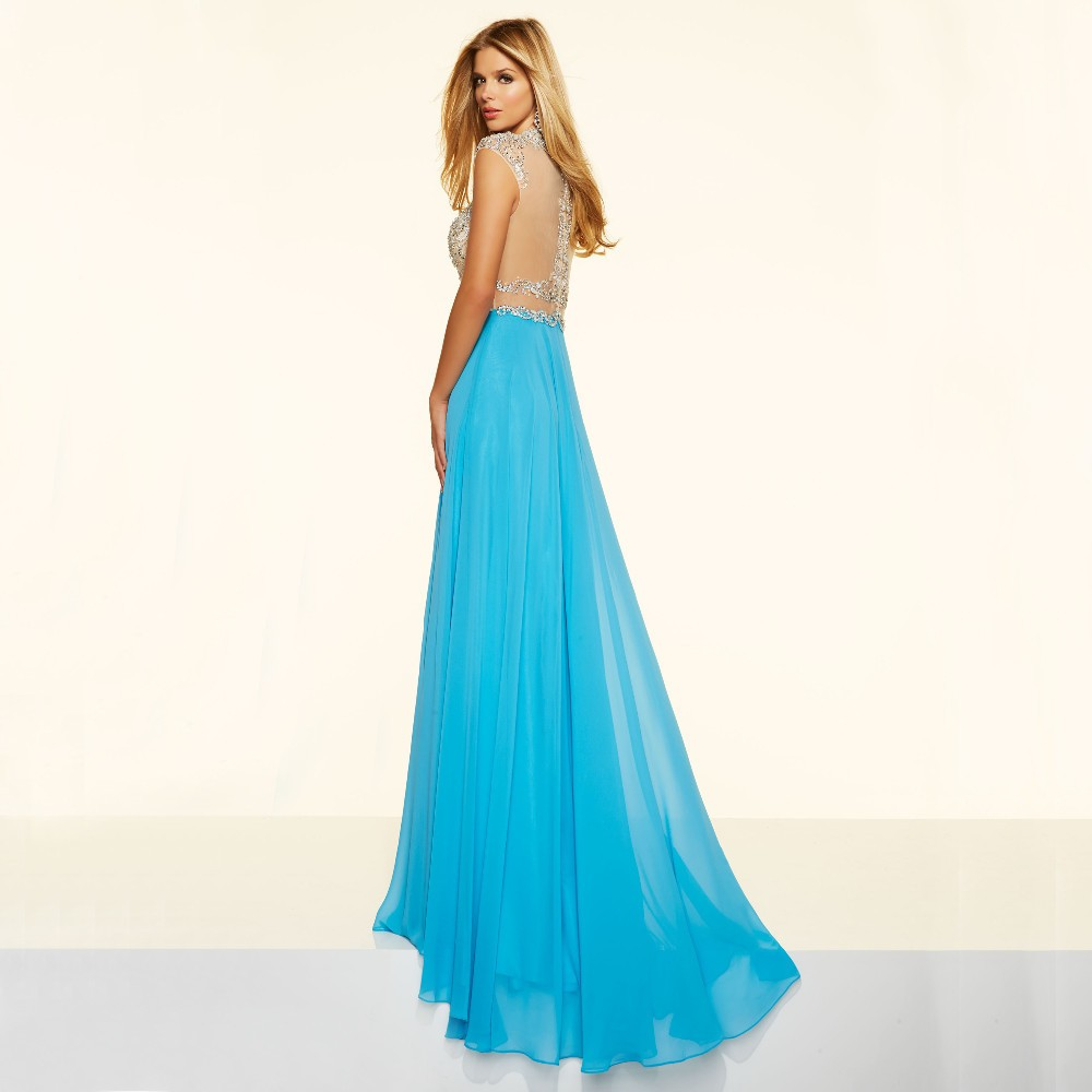Sparkly Crystal Crop Top Flowing Split A-Line One Piece Evening Dress 2