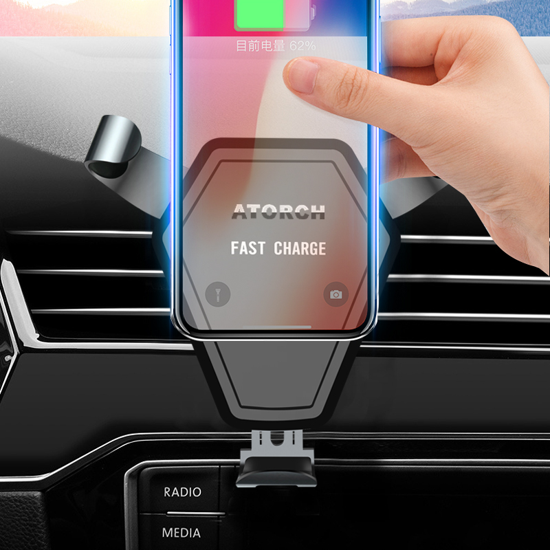 ATORCH Qi Car Wireless Charger For iPhone X Xs Xr X Samsung S10 S9 Intelligent Infrared Fast Wirless Charging Car Phone Holder