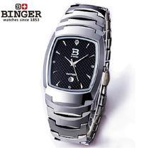 Luxury Brand Switzerland Binger tungsten steel men's watch quartz watch beer barrel full steel wristwatches BG-0394-5