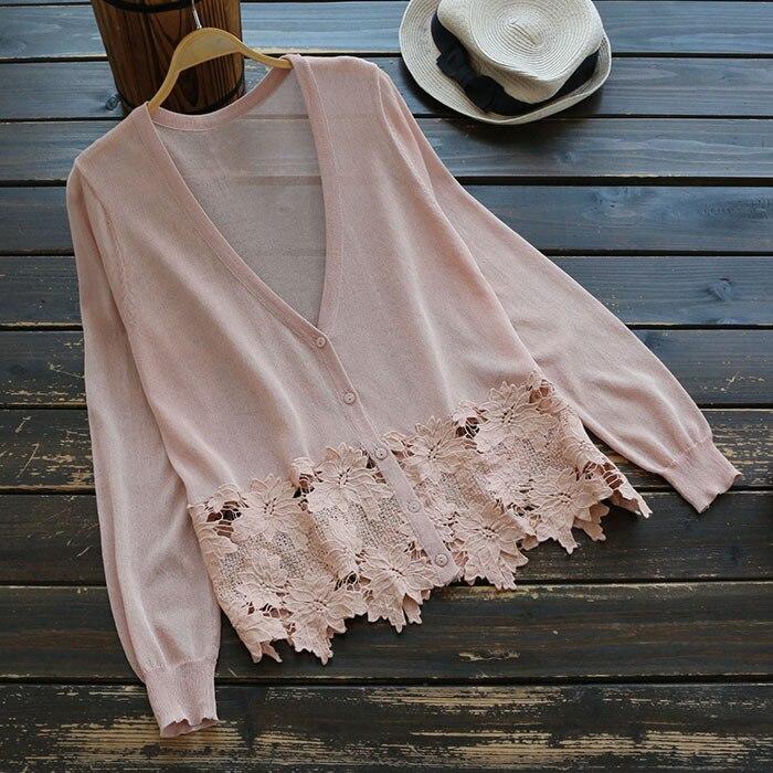 2018 Flower Crochet Hem Women Pink Summer Cardigans Long Sleeve V-Neck Women Kimono Sweater Coat Women Cardigans