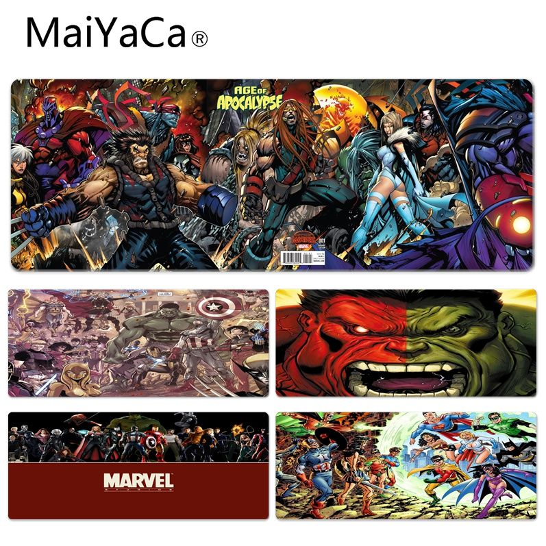 MaiYaCa Funny Marvel Comics Art Aggression Beautiful Anime Lockedge Mouse Mat Size for 300*900*2mm and 400*900*2mm Game Mousepad