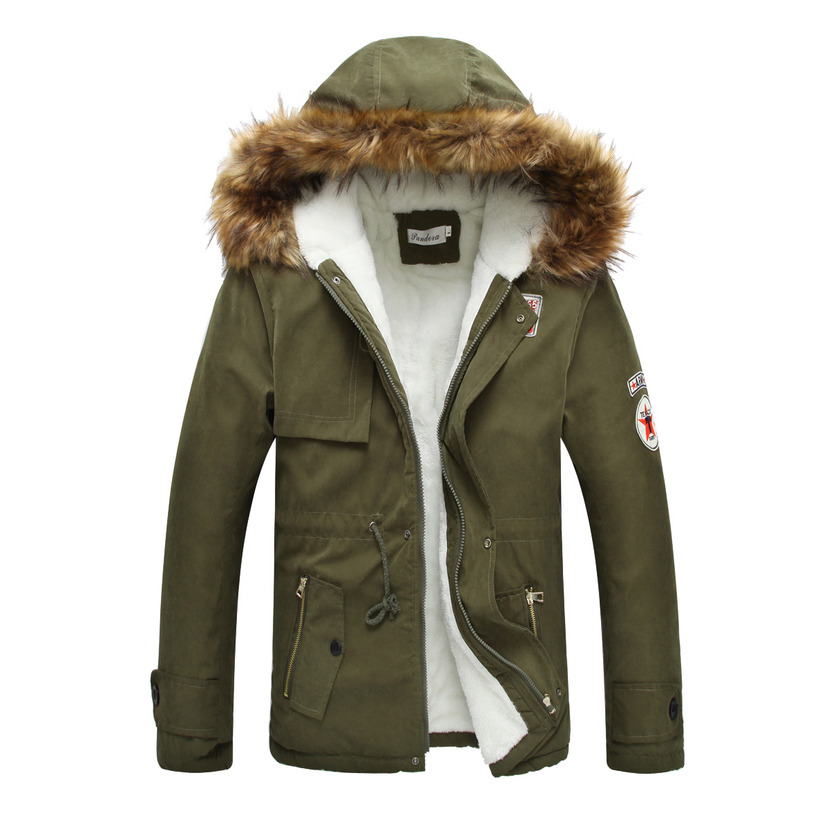 New fashion men winter fur coat warm casual canada military man ...