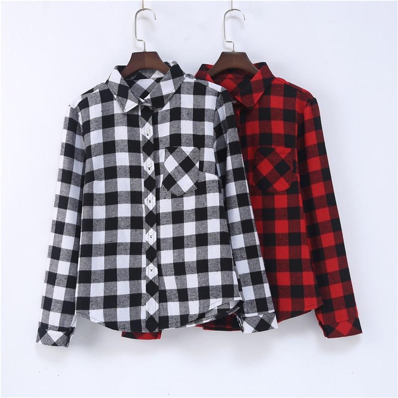 2017 outono inverno mulheres grande xadrez vermelho camisas de manga longa  algodão de linho das senhoras blusa tops solto doce doce escritório OL  blusa em ... fbaf0c286da1b