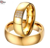 NFS 1pair 2pcs Simple Couple Rings For Women Men Elegant AAA CZ Stones Gold Color Lovers