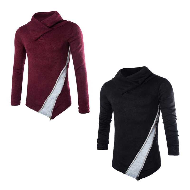 Casual Stacked collar Knitting Sweaters Mens Lapel sweater Slim Men Pullovers