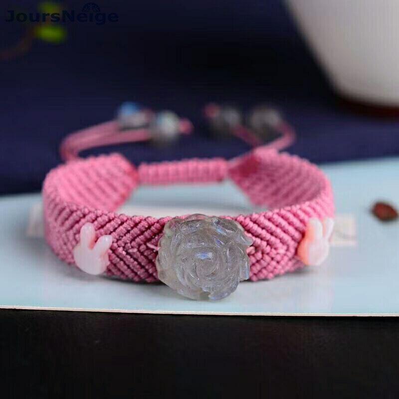 Main Fil Tissé Bracelets avec Naturel Gris Lune Pierre Fleur Main Rangée Femmes Fille Poignet Bracelet Bijoux De Mode