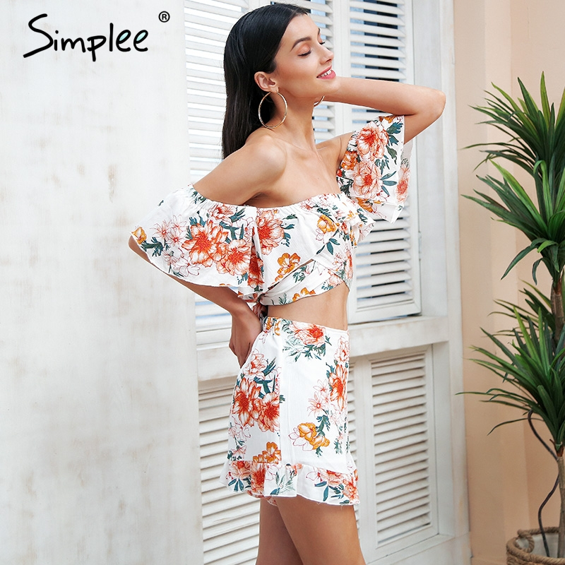 48bc7fa2889b7 US $11.66 50% OFF|Simplee Off shoulder two piece jumpsuits rompers Women  floral print jumpsuit short Summer 2018 ruffle sexy playsuit macacao-in ...