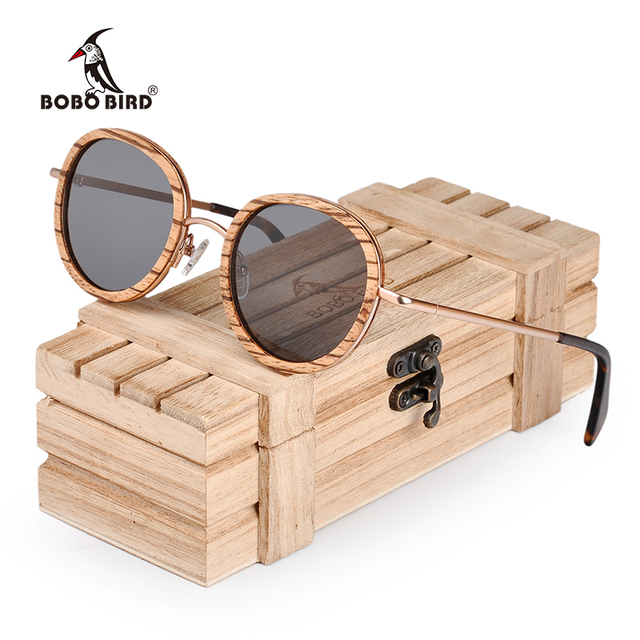 BOBO BIRD Oval Polarized Wood Sunglasses