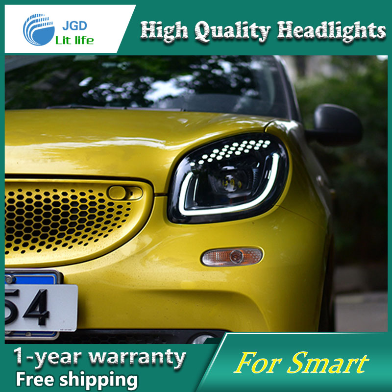 Car Styling Head Lamp Headlights case for Smart LED Headlight DRL Lens Double Beam Bi-Xenon HID Accessories hireno headlamp for 2016 hyundai elantra headlight assembly led drl angel lens double beam hid xenon 2pcs
