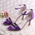 (20 Cores) Por Grosso ea Retalho Sandálias de Salto De Cetim De Casamento Sapatos de Noiva de Cetim Roxo Tamanho 8