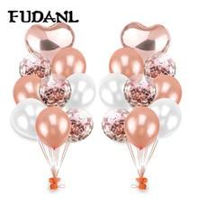 1set Multi Confetti Balloon Happy Birthday Wedding Party Balloons Rose Gold Helium Ballons Boy Girl Baby Shower Supplies
