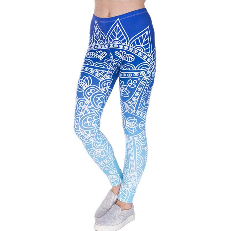 Autumn Women Leggings Fresh Lotus Printing Woman Leggins Aztec Round Ombre Fitness Trousers fashion pants