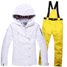 Women's warm thick waterproof coat High quality winter clothes women ski suit outdoor sports skiing jacket and ski pants suit