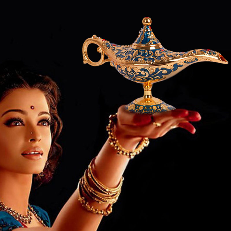 22cm Elegant Vintage Metal Carved Aladdin Lamp Light Wishing Tea Oil Pot Decoration Figures Saving Collection Arts Craft Gift