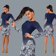 Sexy Vintage Print Flower Dot Women Mini Dress Slim O Neck Long Sleeve Feminino Bodycon Vestidos Night Club Party Pencil Dress