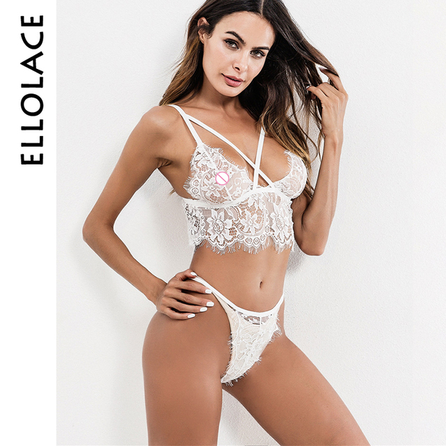 86bc47bde9f48a Ellolace Hot Transparent Lingerie Set V-string Women Lace Bra Set Sexy  Underwear Wireless Adjustable Straps Bra and Panty Sets