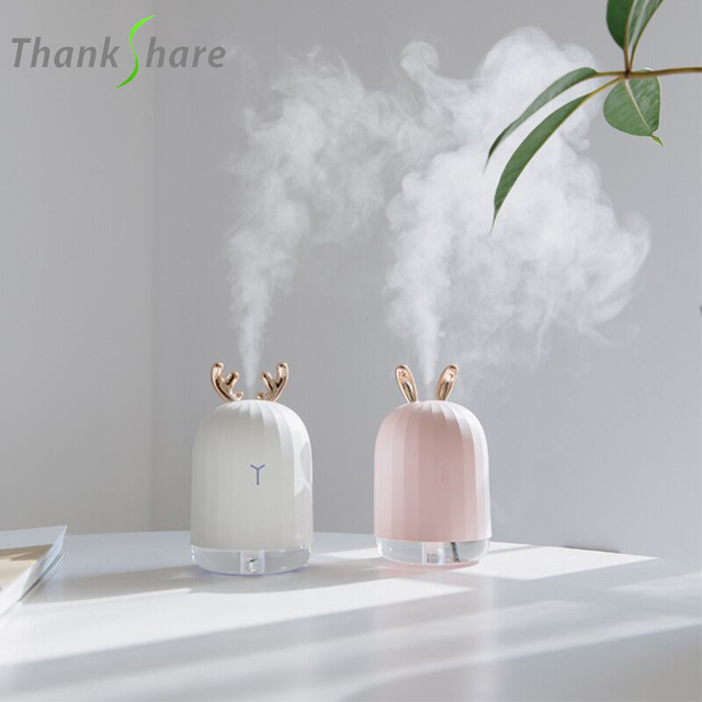 THANKSHARE милый белый олень розовый кролик увлажнитель воздуха креативный мультфильм USB диффузор 220 мл Зарядка свет Настольный Ароматический диффузор