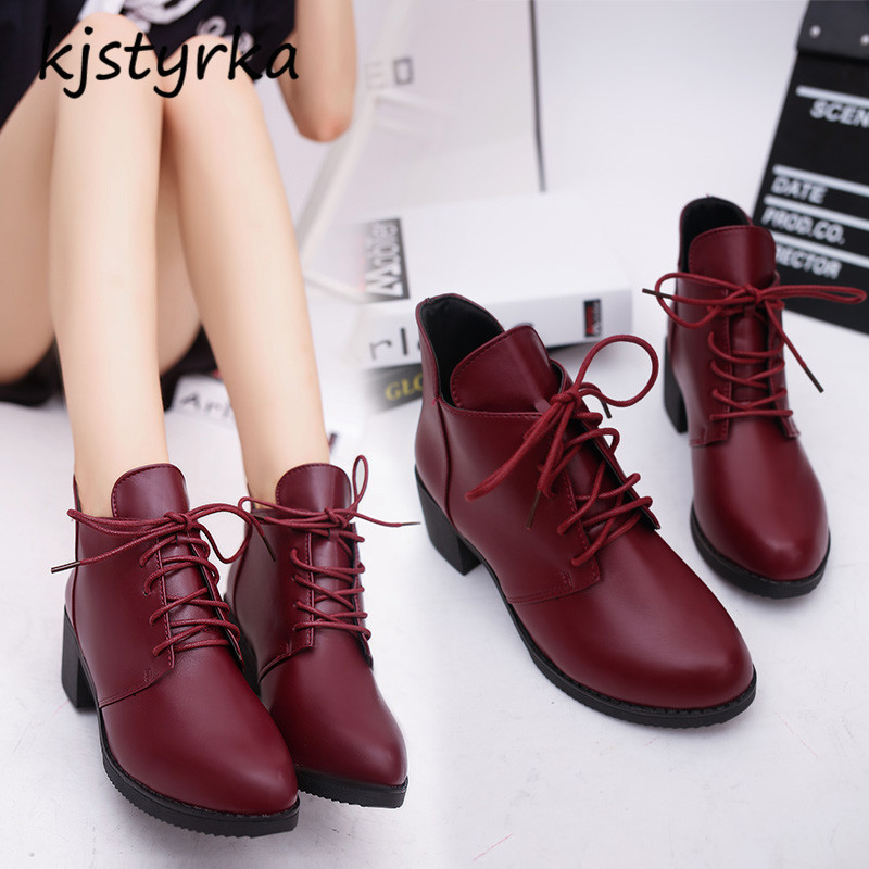 kjstyrka brand design botines mujer 2018 fashion simple comfortable winter warm patent leather ankle women boot bota feminina 1