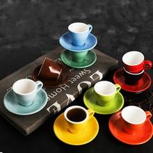 100cc цвет Макарон эспрессо ЧЕРНЫЙ Итальянский кофе чашка и блюдце наборы Demitasse Tasse кафе Xicara капучино кружка Koffie Kopjes