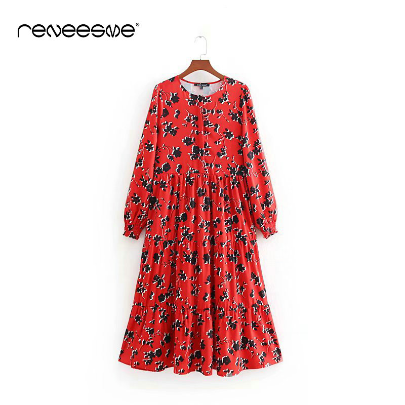 2019 casual new women dress long sleeve red print o neck loose pleated female dresses maxi chic elegant party ladies vestidos in Dresses from Women 39 s Clothing