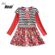 2017 retail new baby girl clothes flower pattern dress Long sleeve dress girls dresses children clothes