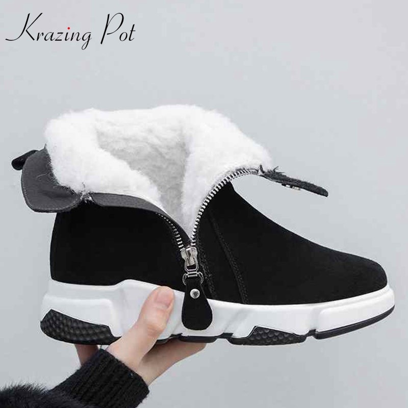Krazing Pot 2019 hot sale round toe keep warm wool keep warm snow boots Winter wedges increased cold protection ankle boots L28-in Ankle Boots from Shoes    1
