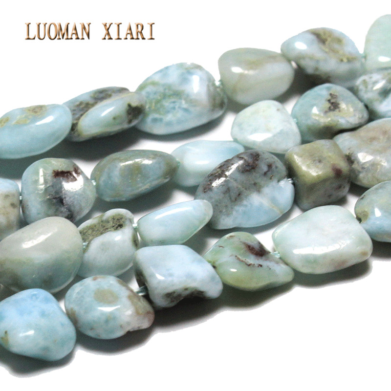 AAA+ Irregular Natural Larimar  Stone Beads For Jewelry Making DIY Bracelet Necklace  Material about 9-11mm Strand 15''